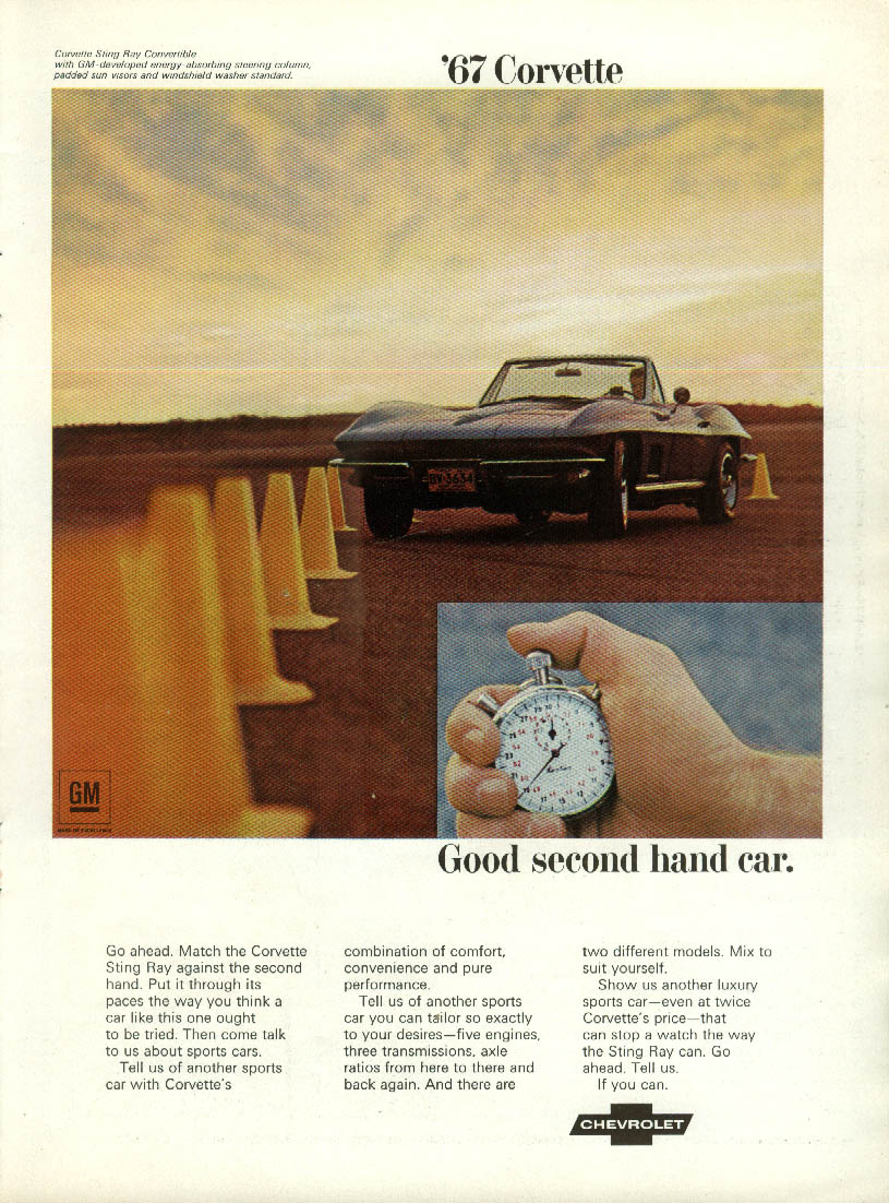Good second hand car. Corvette ad 1967 RT