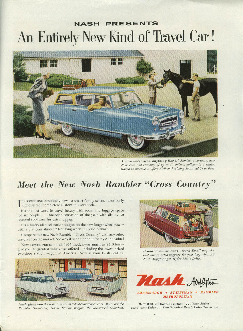 An Entirely New Kind of Travel Car Nash Rambler Cross Country ad 1954 nY