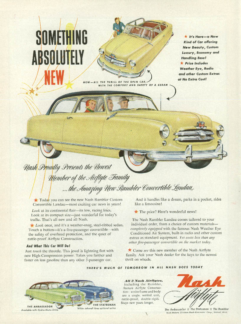 Something Absolutely New Nash Rambler Convertible Landau ad 1950 T