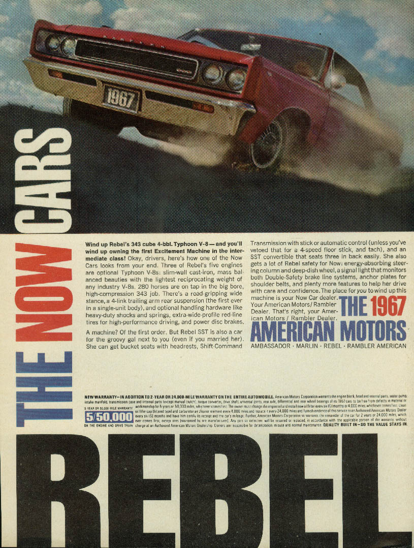 Image for Wind up AMC Rebel's 343 cube 4-bbl Typhoon V-8 ad 1967 MT