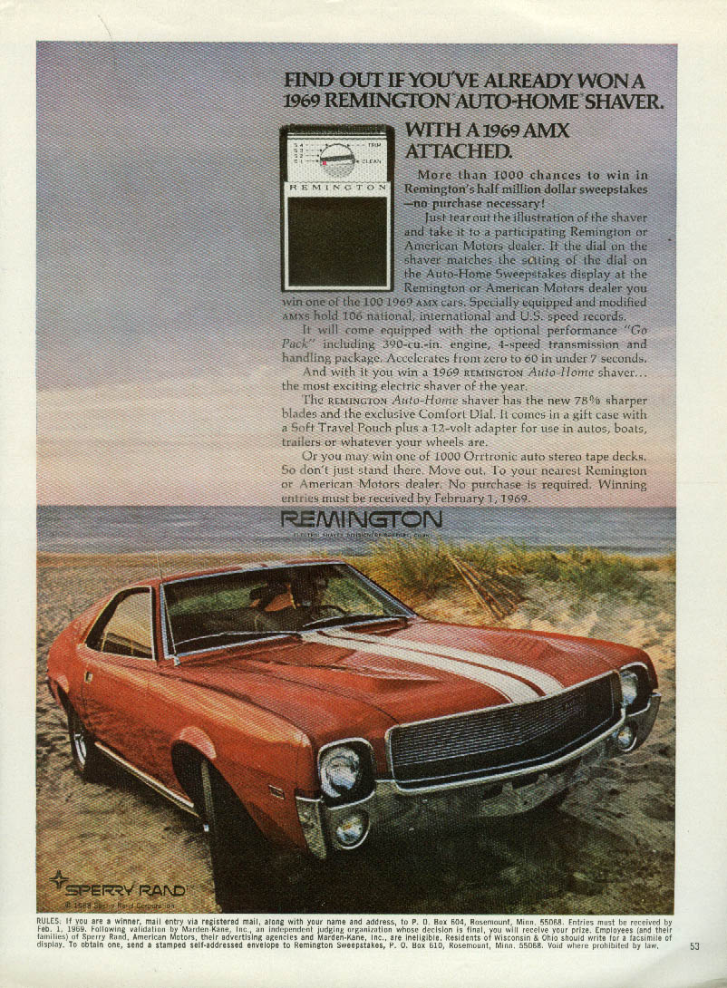 Image for Find out if you've won Remington Auto-Home Shaver with AMC AMX attached ad 1969