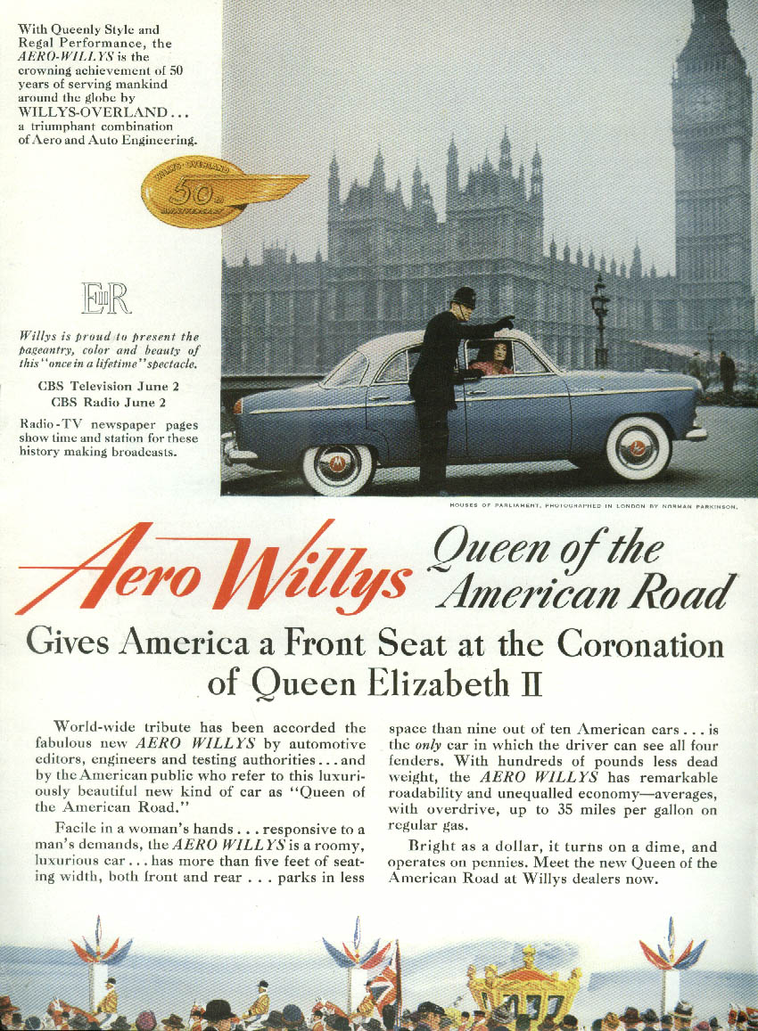 Aero Willys Gives America a Seat at Queen Elizabeth II Coronation ad 1953 NY