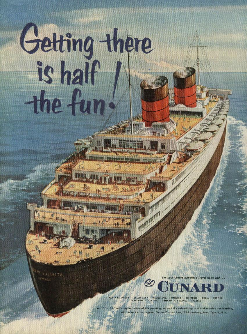 Cunard R M S Queen Elizabeth / Cole of California Female Animal Swimsuit ad 1954