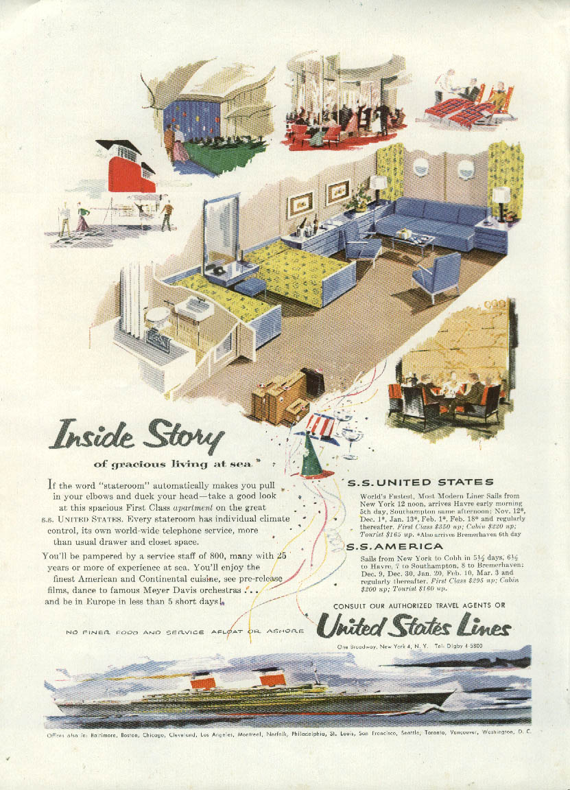 Inside Story of gracious living at sea S S United States ad 1954 NY