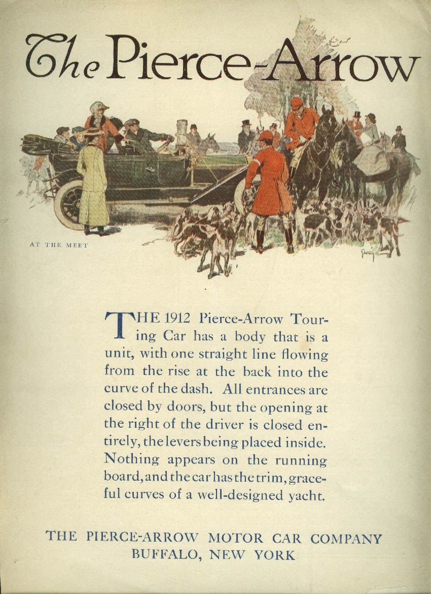 One straight line flowing Pierce-Arrow Touring Car ad 1912