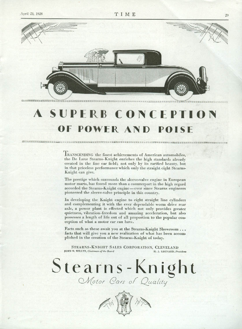 A Superb Conception of Power & Poise - Stearns-Knight Coupe ad 1928