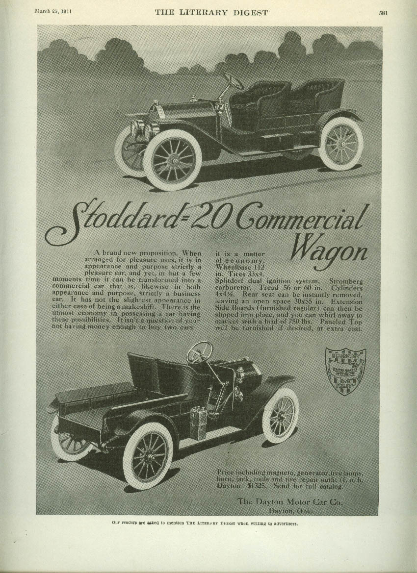 A brand new proposition Stoddard 20 Commercial Wagon ad 1911