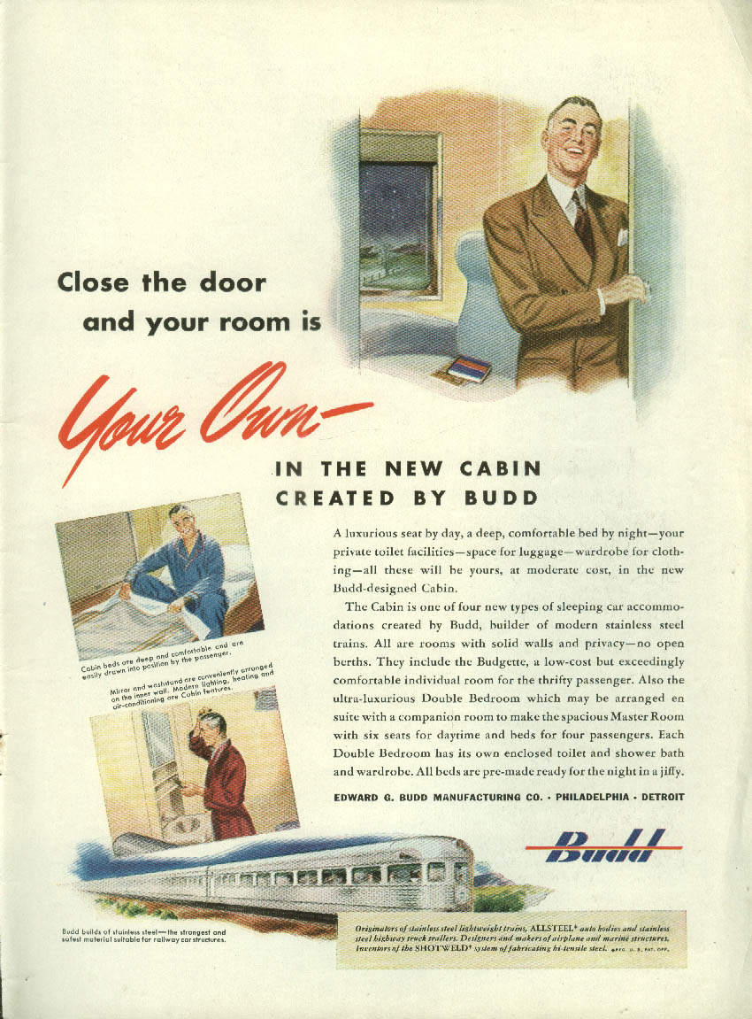 Close the door & your room is your own Budd RR Passenger Car Cabin ad 1946