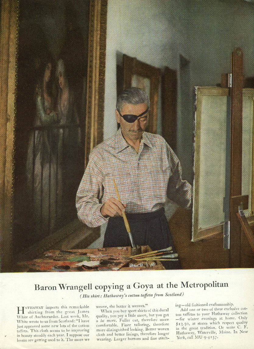 Baron Wrangell copying a Goya at the Metropolitan Hathaway shirt ad 1955
