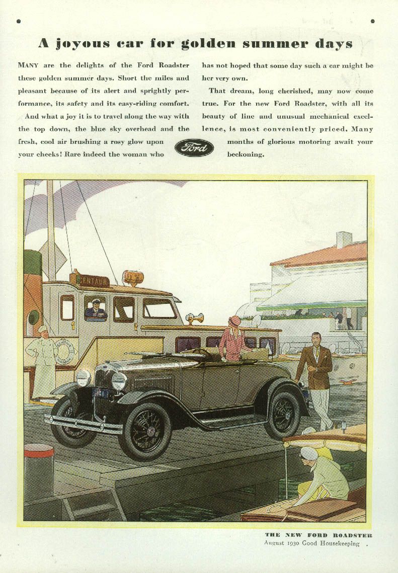 A joyous car for golden summer days Ford Model A Roadster ad 1930 GH