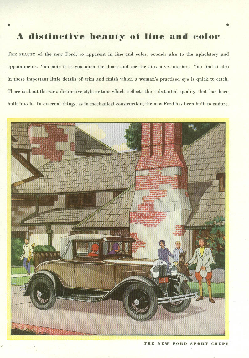 A distinctive beauty of line and color Ford Model A Sport Coupe ad 1930 Am