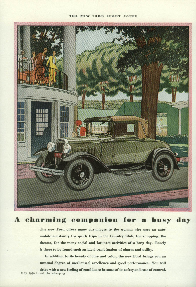 A charming companion for a busy day Ford Model A Sport Coupe ad 1930 GH