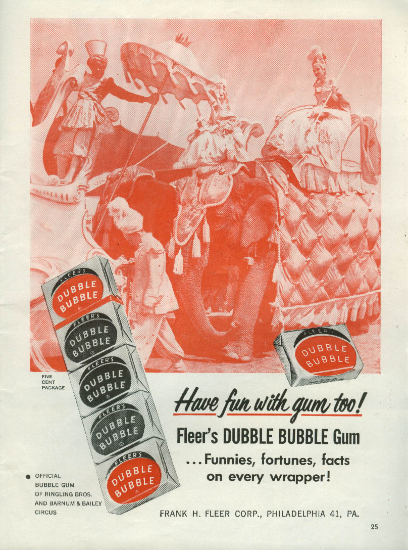 Have fun with gum too Fleer's Dubble Bubble Gum ad 1952 circus motif