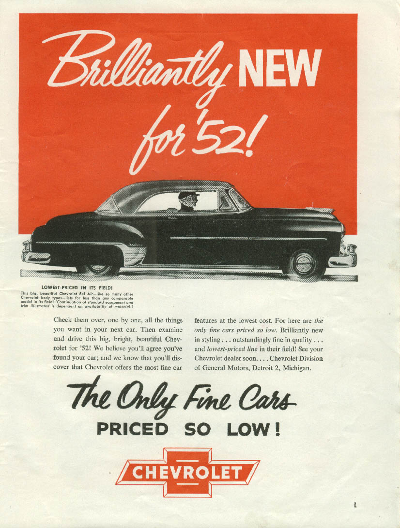 Brilliantly new for '52! Chevrolet Bel Air 2dr HT ad 1952 RBB