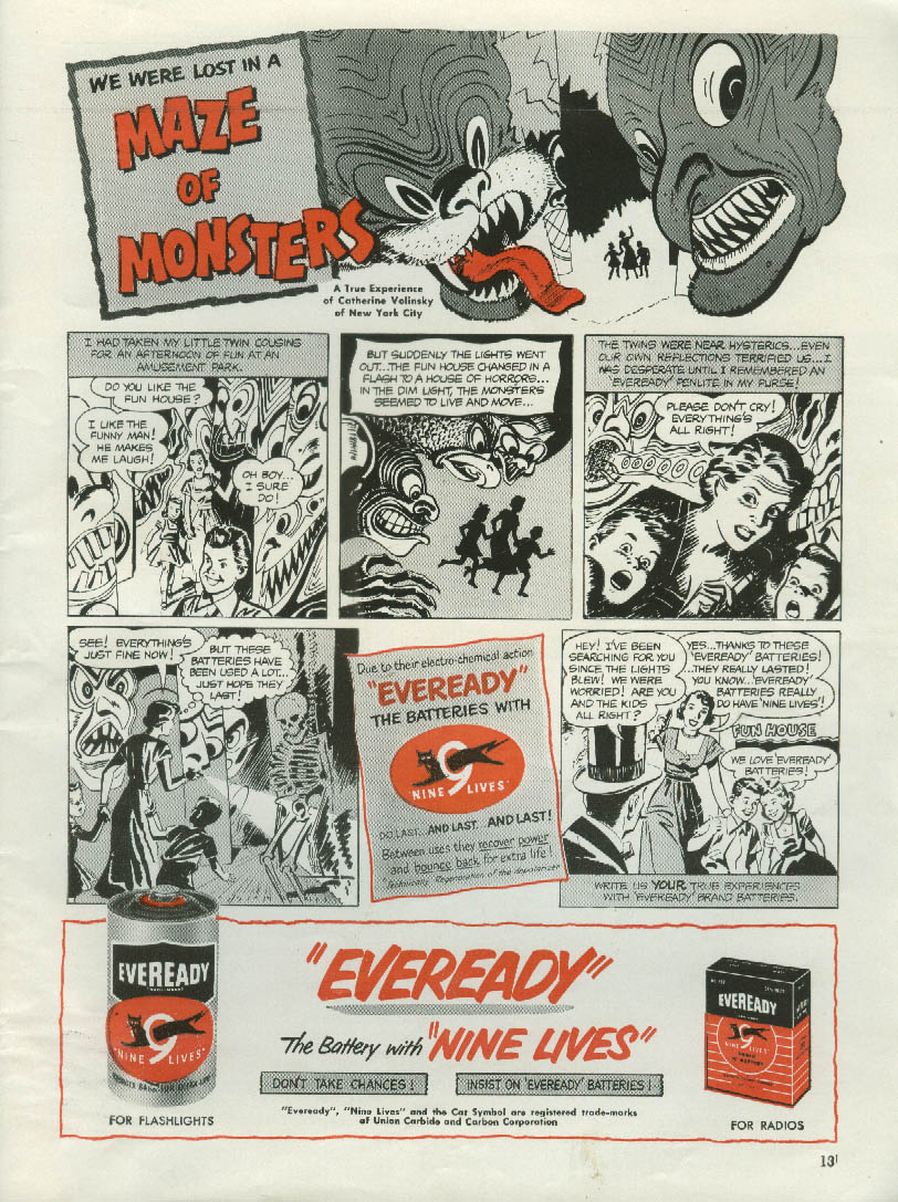 Lost in a Maze of Monsters - Eveready Flashlight Batteries ad 1952