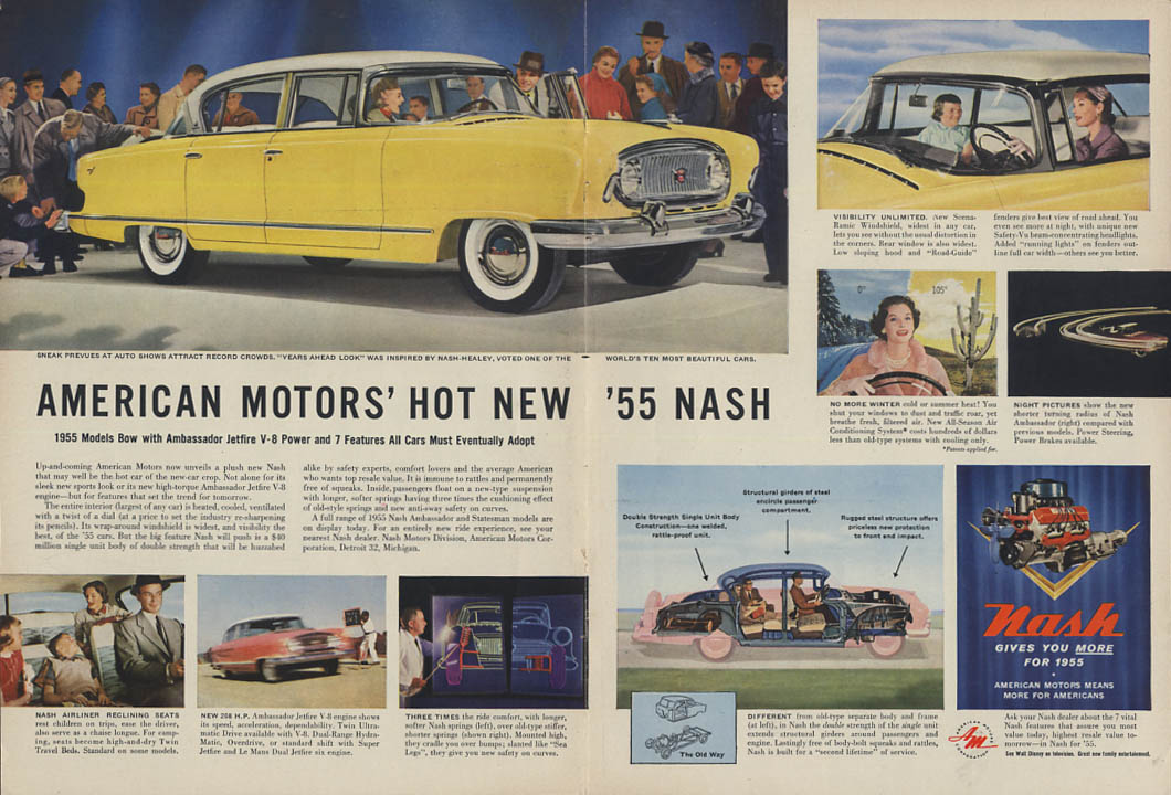 American Motors Hot New Nash Ambassador ad 1955 T or Nwk
