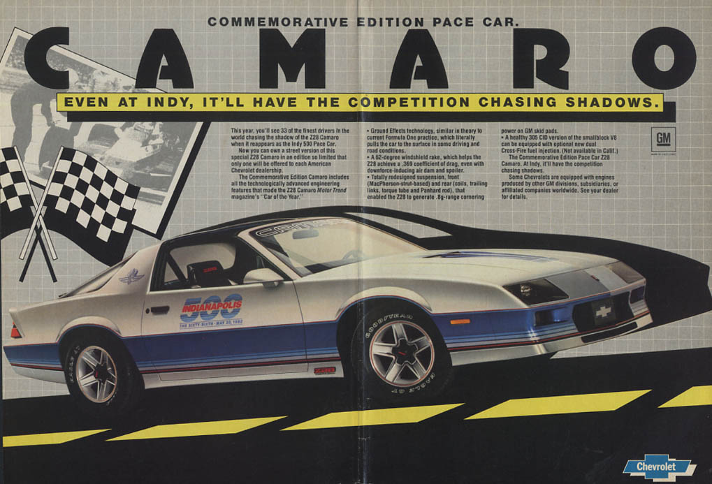 Chevrolet Camaro Z28 Commemorative Edition Indianapolis 500 Pace Car ad 1982