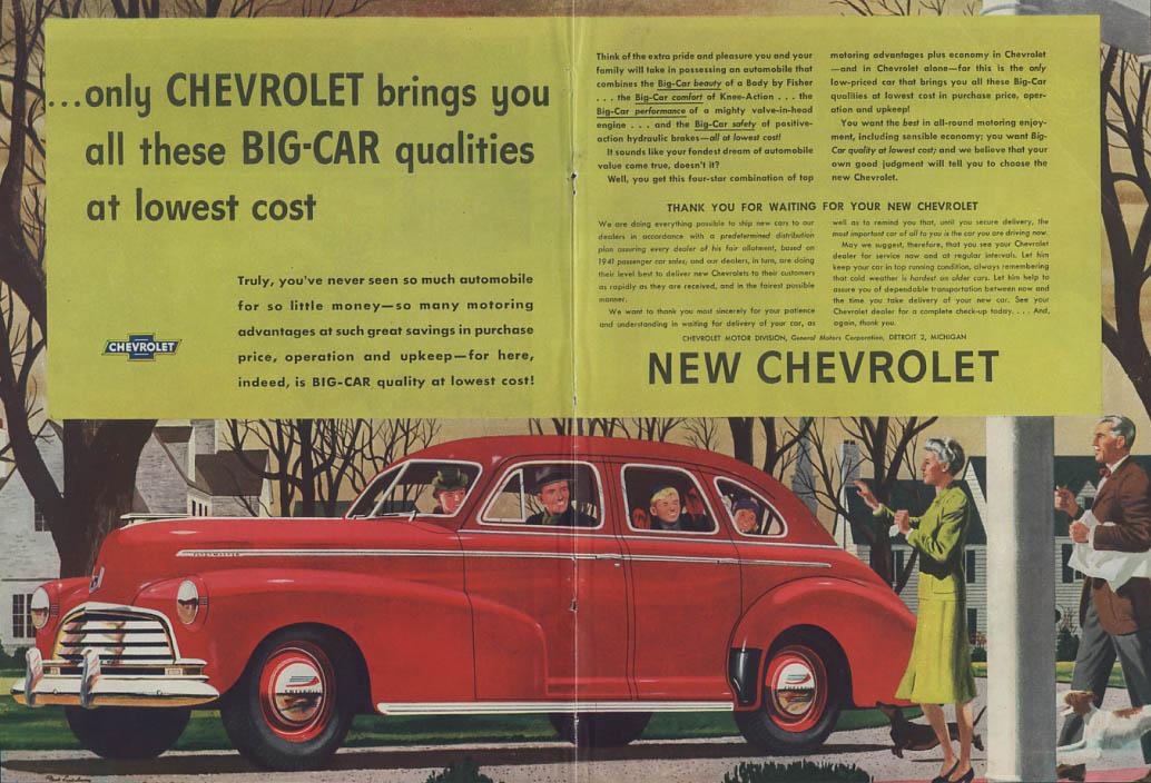 Big-Car qualities at lowest cost Chevrolet Fleetmaster Sedan ad 1947 T