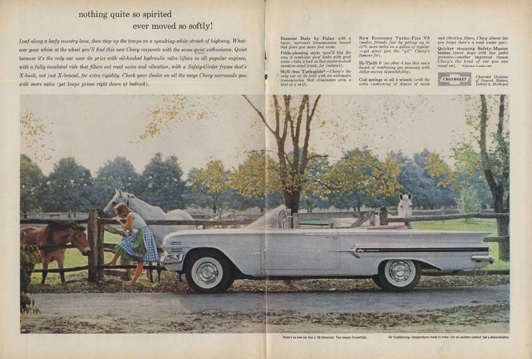 Nothing quite so spirited moved so softly Chevrolet Impala Convertible ad 1960 T