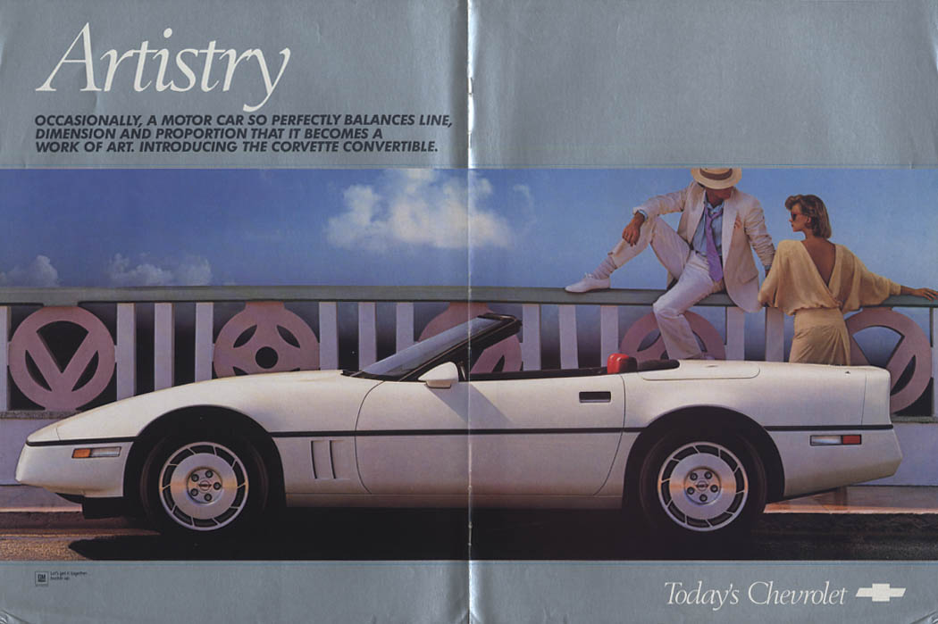 Artistry - sometimes a motor car perfectly balances Chevrolet Corvette ad 1986