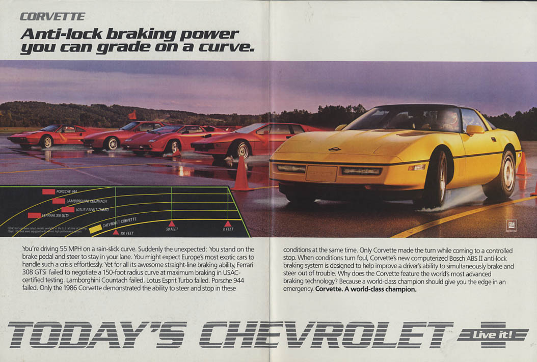 Anti-lock braking you can grade on a curve Chevrolet Corvette ad 1986 NY
