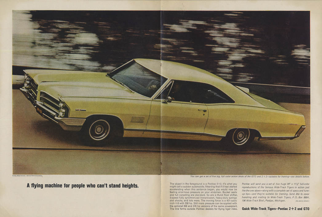 A flying machine for people who can't stand heights Pontiac 2+2 ad 1965 MT