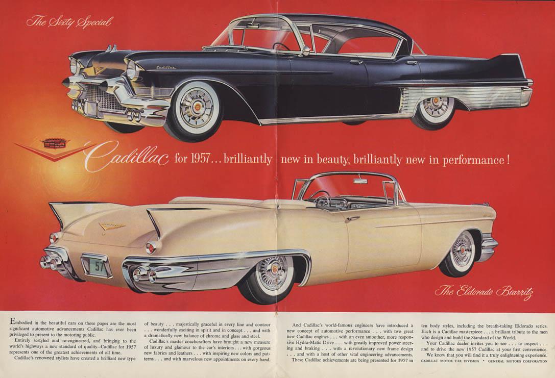 Brilliantly new Cadillac Hardtop & Eldorado Biarritz ad 1957 NY
