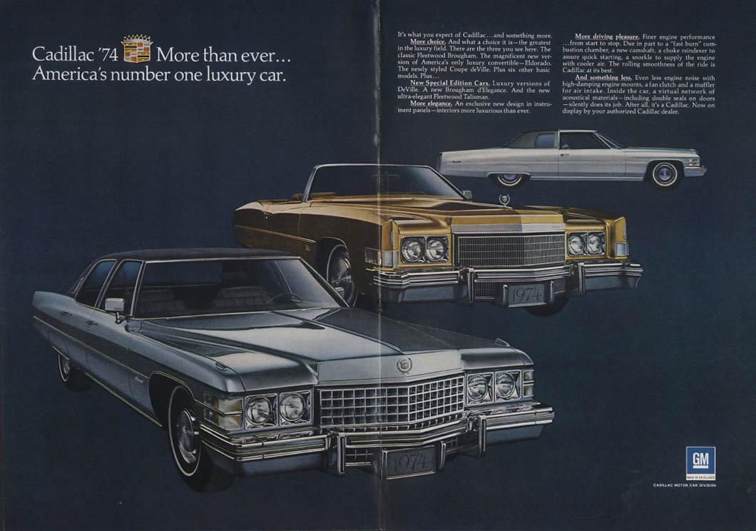 America's number one luxury car Cadillac Eldorado Coupe de Ville ad 1974 NY