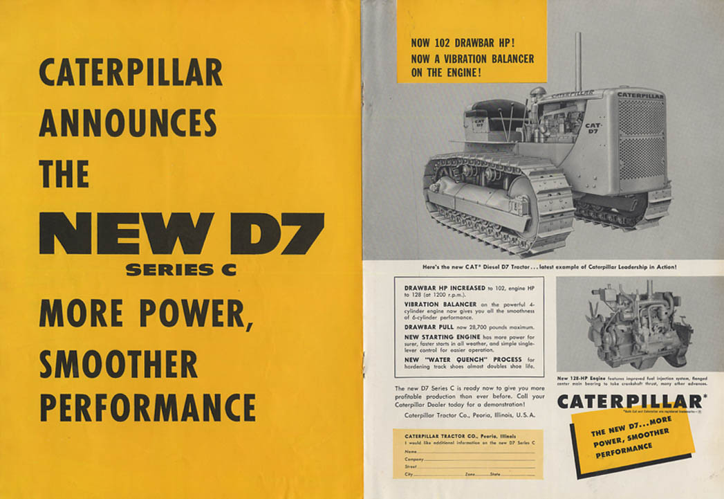 Caterpillar announces the new D7 Series C Diesel Tractor ad 1955