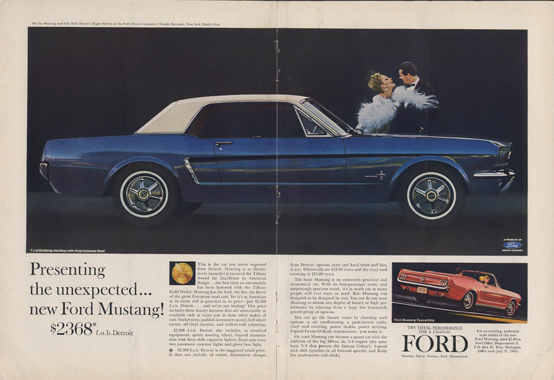 Presenting the unexpected - new Ford Mustang $2368 ad 1964 NY