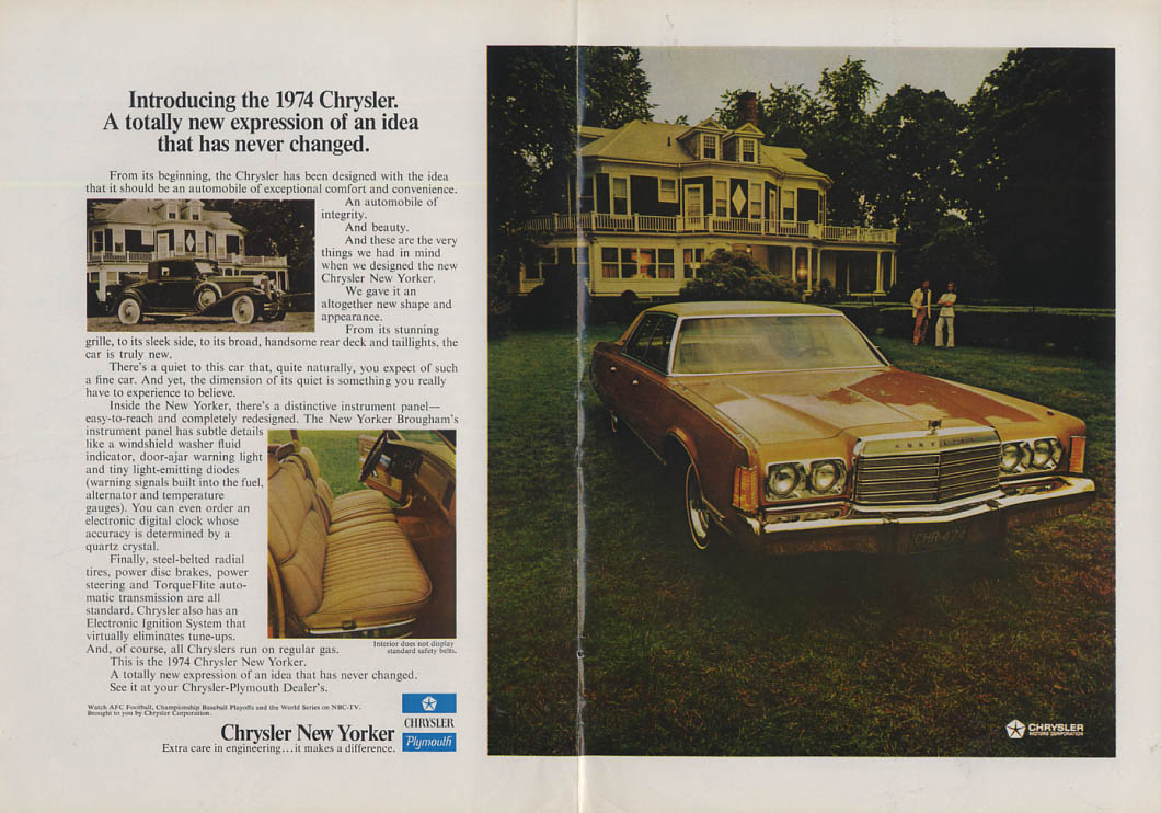 A totally new expression of an idea never changed Chrysler New Yorker ad 1974 NY