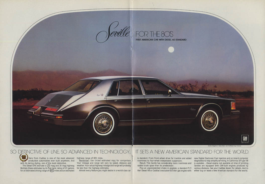 1st American Car with diesel standard Cadillac Seville ad 1980 NY