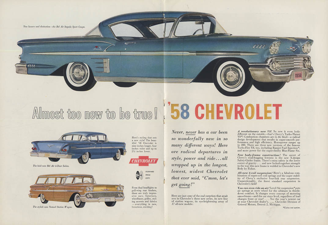 Almost too new to be true! Chevrolet Impala Bel Air Nomad ad 1958 vm
