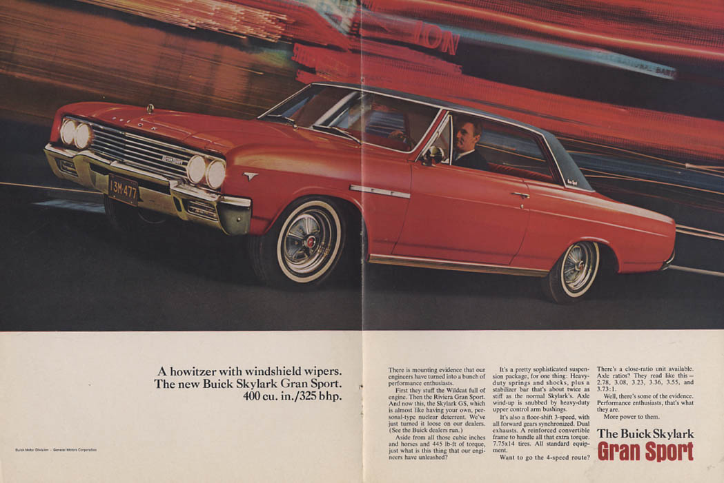 A howitzer with windshield wipers Buick Skylark Gran Sport ad 1965 vm