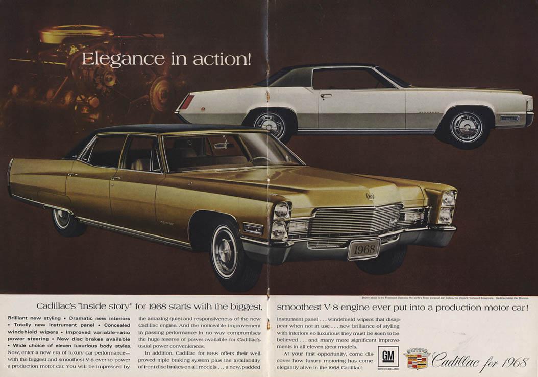 elegance in action! Cadillac Fleetwood Brougham & eldorado ad 1968 NY