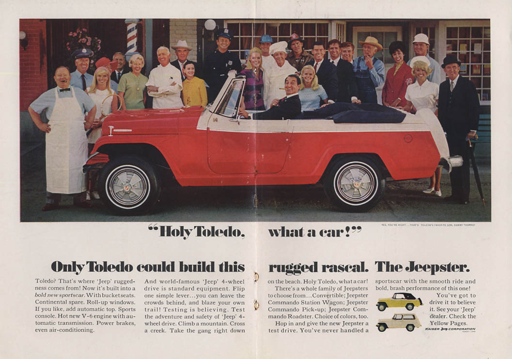 Image for Holy Toledo! What a car! Dany Tghomas for Jeepster ad 1967 NY