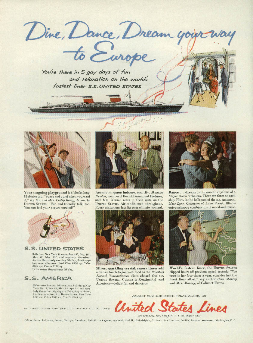Dine Dance Dream you way to Europe on S S United States ad 1956 NY