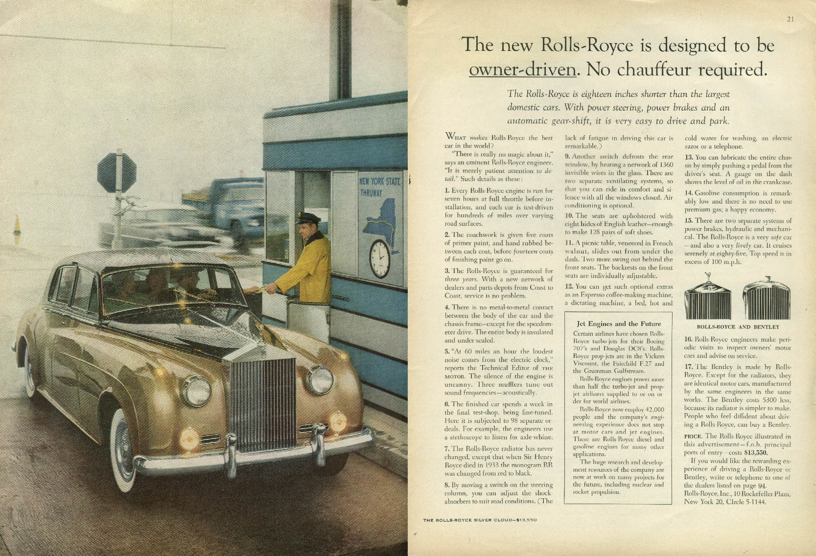Designed to be owner-driven No chauffeur required Rolls-Royce ad 1958 NY