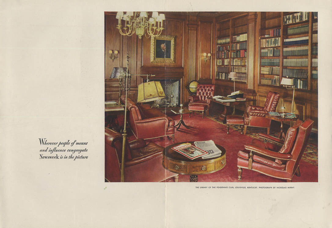 Newsweek in Pendennis Club Library Louisville KY ad 1948 Nickolas Muray photo