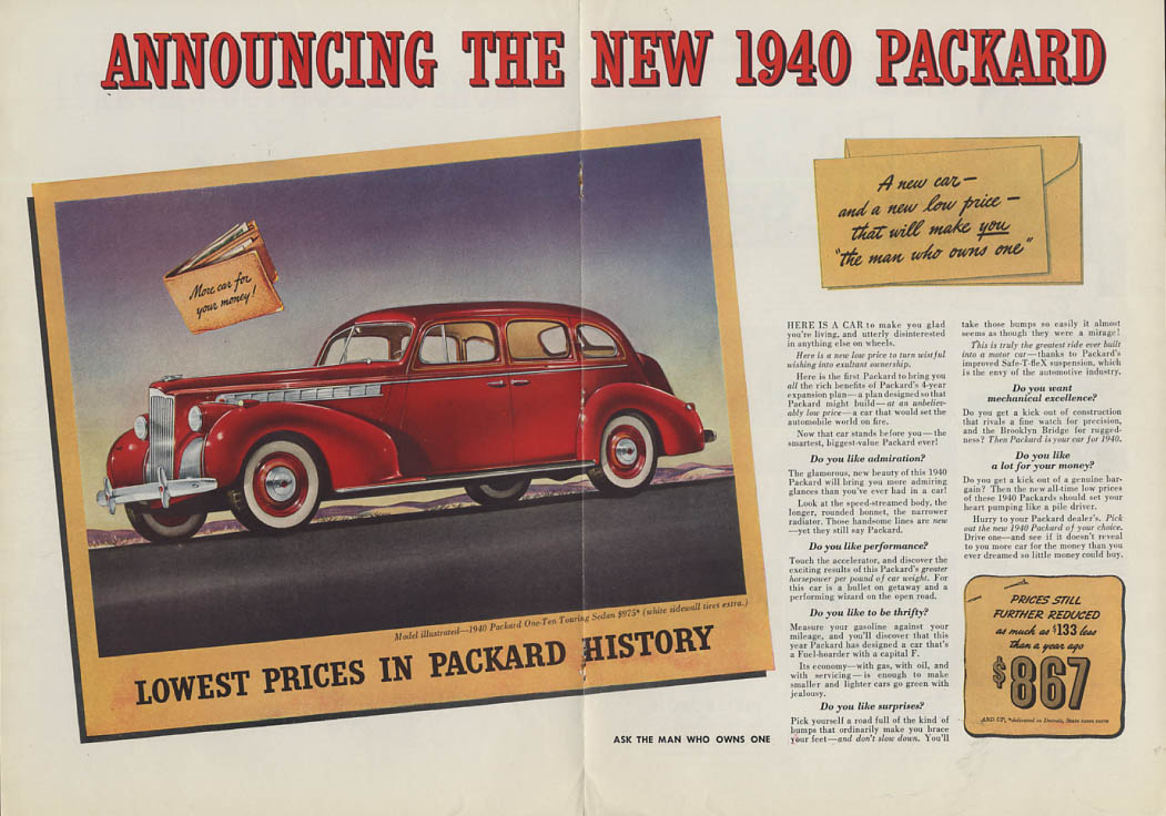 More Car for Your Money Packard One-Ten Touring Sedan ad 1940 NY