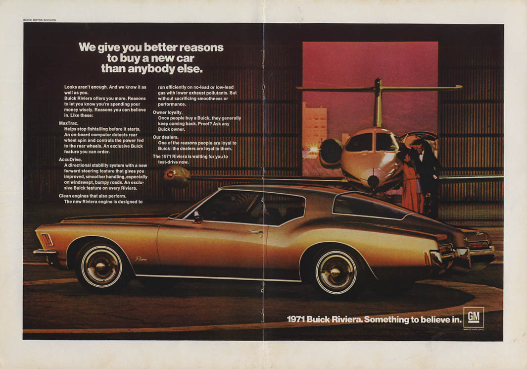 we give you better reasons to buy a new car than anybody buick riviera ad 1971 y. Black Bedroom Furniture Sets. Home Design Ideas