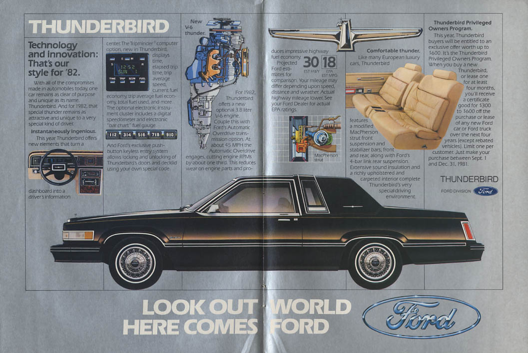 Image for Look out world - Here comes Ford Thunderbird ad 1982 NY