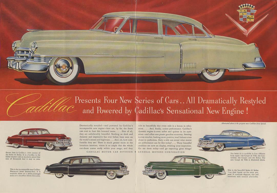 Cadillac 4 New Series ad 1950 Sixty Special 61 62 Sedan Fleetwood NY