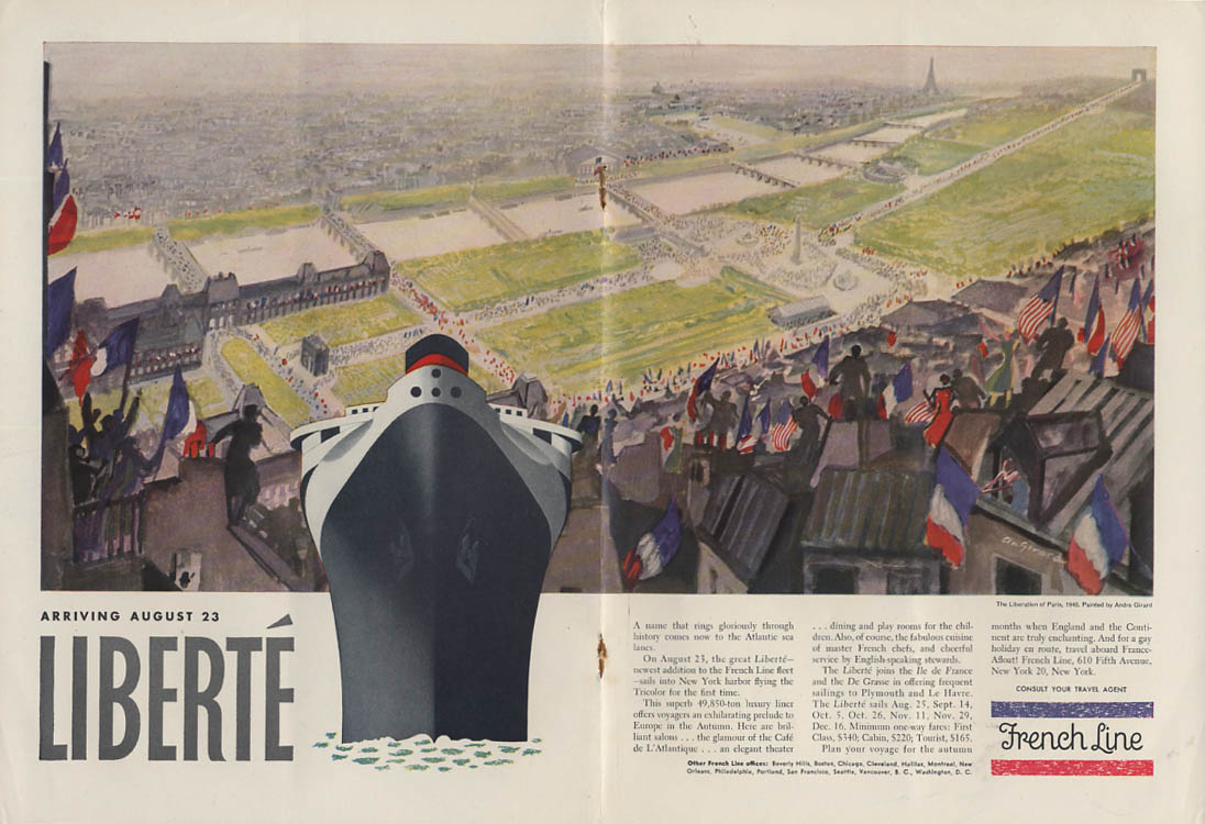 French Line S S Liberte arriving August 23 ad 1950 NY