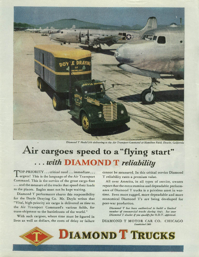 Air cargoes speed to a flying start Diamond T Doyle Draying truck ad 1945 T