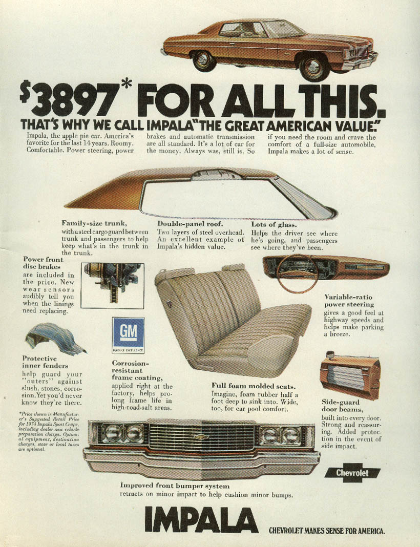 $3867 for all this: The Great American Value Chevrolet Impala ad 1974 T