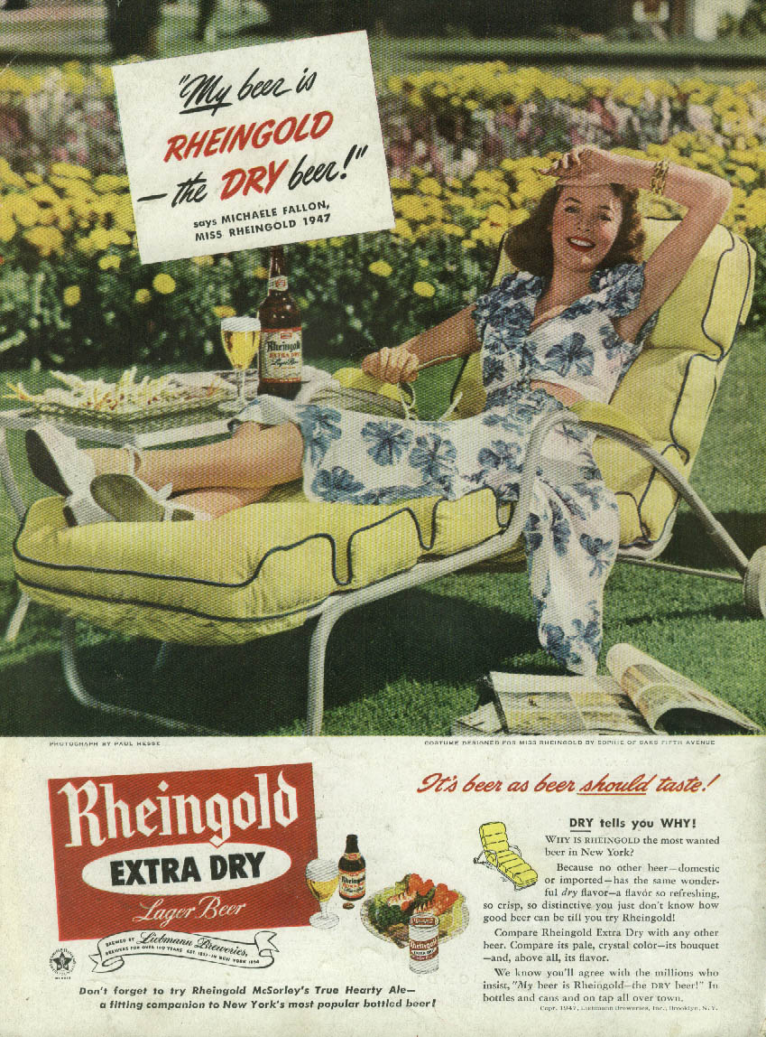 Miss Rheingold Beer Michaele Fallon ad 1947 chaise lounge sundress NY