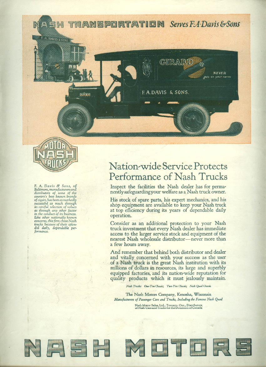 Nationwide Service Protects Nash Trucks ad 1921 Girard Cigars F A Davis & Sons L