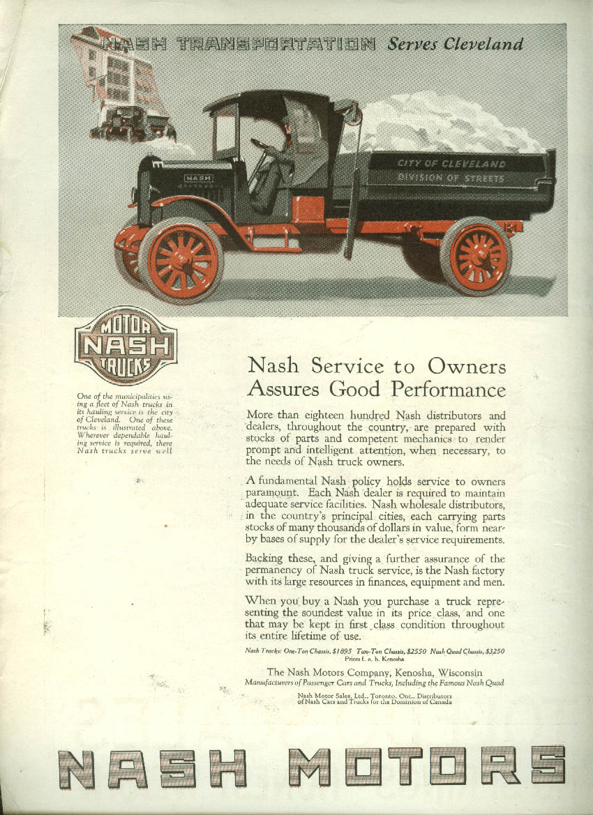 Service Assures Good Performance Nash Truck ad 1921 Cleveland Dept of Streets LD