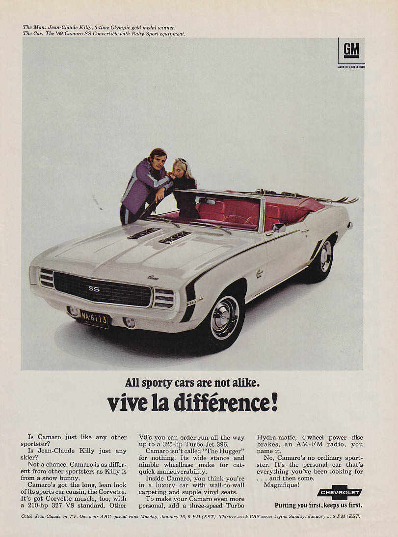 Vive la difference! Jean-Claude Killy Camaro SS 350 ad 1969 SI